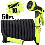 Sunflora 50 ft Expandable Garden Hose + Bonus 10 feet with Solid Brass