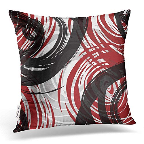 Accrocn Throw Pillow Covers Red And Black White Gray Spiral Pattern Retro Abstract Multicolor Magnifique Cushion Decorative Pillowcases Polyester 18 x 18 Inch Square Pillowcase Hidden Zipper