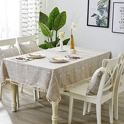 QIGE Manteles Rectangular Mantel Mantel Tela Algodón Y Lino Mesa De Centro Mantel Mantel Rectangular 60 * 60Cm Café Claro Gran Rejilla - Borla: Amazon.es: Jardín
