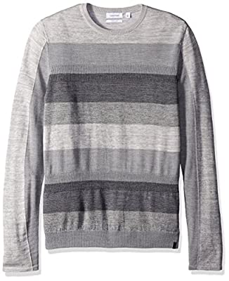 Calvin Klein Men's Merino Ribbed Stripe V-Neck Sweater