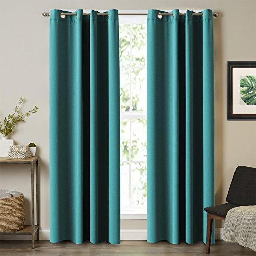 Blackout Thermal Insulated Room Darkening Winow Treatment Extra Long Curtains / Drapes, Grommet Panels Draperies for Living Room (Set of 2, 52 by 108 - Inch, Teal) (108 Drapes Long)