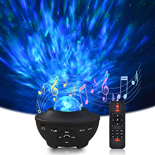LED Star Projector,Sylvwin Star Light Projector,Ocean Wave Nebula Night Light,360° Colour Rotating Music Player with Bluetooth & USB for Kids, Bedroom, Home Theatre, Decoration