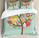 Easter Duvet Cover Set King Size by Lunarable, Abstract Tree with Springtime Icons Ornamental Eggs Colorful Leaves and Cute Birds, Decorative 3 Piece Bedding Set with 2 Pillow Shams, Multicolor