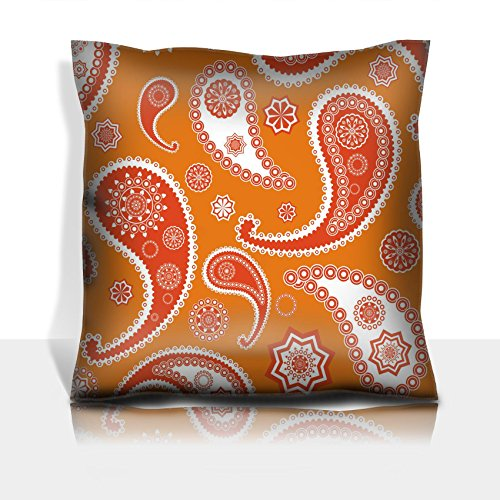 Liili Throw Pillowcase Polyester Satin Comfortable Decorative Soft Pillow Covers Protector sofa 16x16, 1pack Islamic paisley orange pattern texture Photo 6937453 by Liili