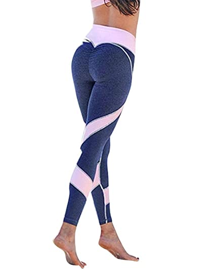 super popolare f7e0a 2cd9c Tomwell Donna Workout Sport Running Yoga Athletic Pantaloni Alta Vita  Stretch Leggings Push Up Palestra Training Elastico Fitness Pants