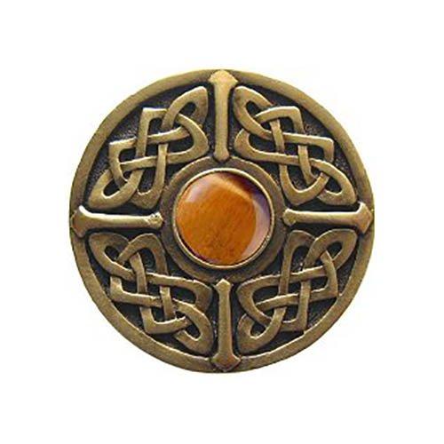 Notting Hill Decorative Hardware Celtic Jewel Knob, Antique Brass, Tiger Eye natural stone