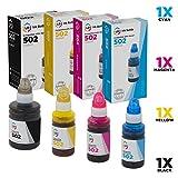 LD Remanufactured Replacements for Epson 502 Set of 4 Ink Bottles: T502120-S Black, T502220-S Cyan, T502320-S Magenta & T502420-S Yellow for use in ET-2700, ET-2750, ET-3700, ET-3750, ET-4750