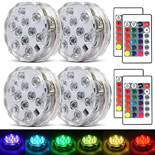 Aqua Lights For Centerpieces (Submersible Led Lights Waterproof Multi-color Battery Remote Control, Party Perfect Decorative Lighting, Suitable for Aquarium Lights, Christmas, Halloween, Etc. IP68 Waterproof Rating)