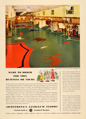 1935 Ad Armstrong Linoleum Floors Rogers-Stewart Store - Original Print - Corporate Stores Rogers