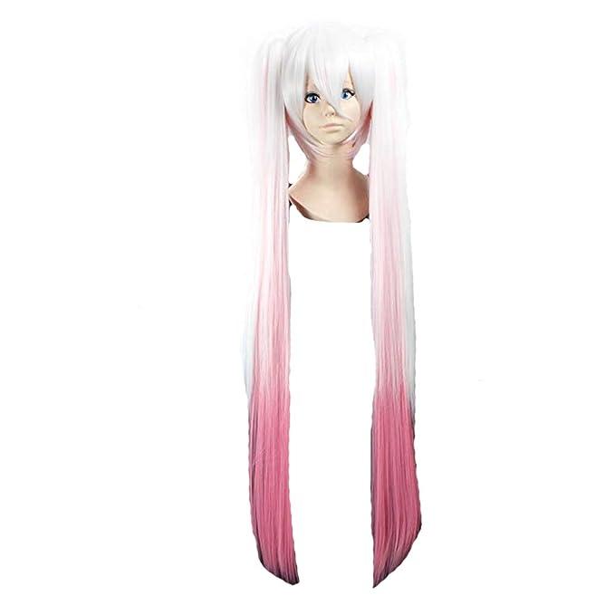 Cosplay peluca rosada blanca Gradiente peluca extra larga ...