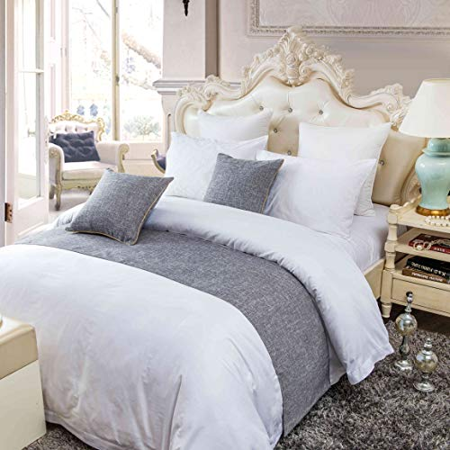 OSVINO Simple Solid Color Polyester Cotton Bedroom Guesthouse Bedding Protection Decor Bed Scarf Runner, Gray, CA King ()