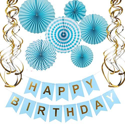 Metallic Happy Birthday Banner - Happy Birthday Banner Paper Fan Flower Set Metallic Swirls for Birthday Party Decorations Blue