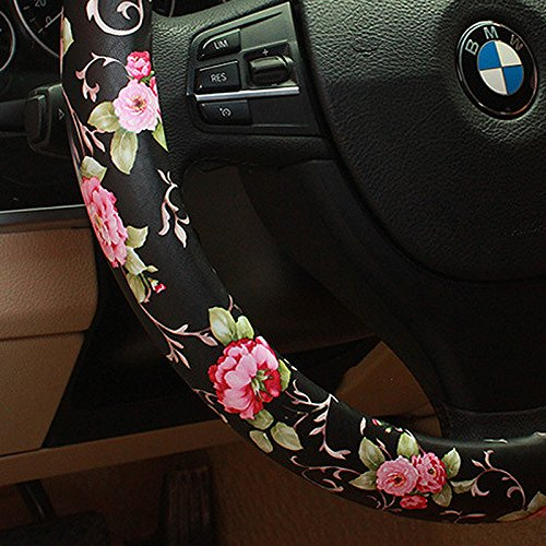Review BINSHEO PU Leather Auto Car Steering Wheel Cover,for Women Girls Ladies,Anti Slip Non-toxic Universal 15 inch,Chinese Style, Black with Red Flowers