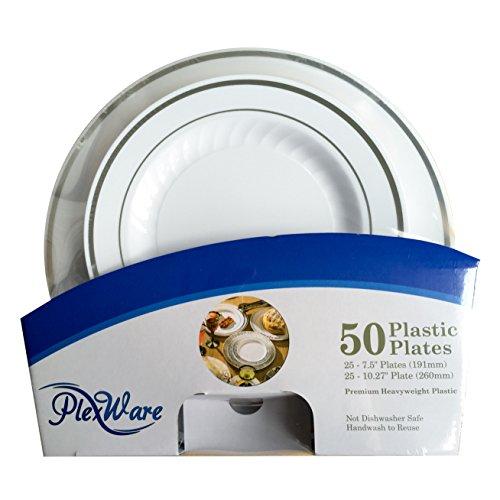 Plexware Plastic Plates, Silver Rim with Ridges, 25-7.5