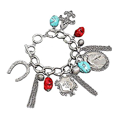 Lucky Horseshoe Fleur De Lis Charm Bracelet Coral and Turquoise Charms Over 2 Inch