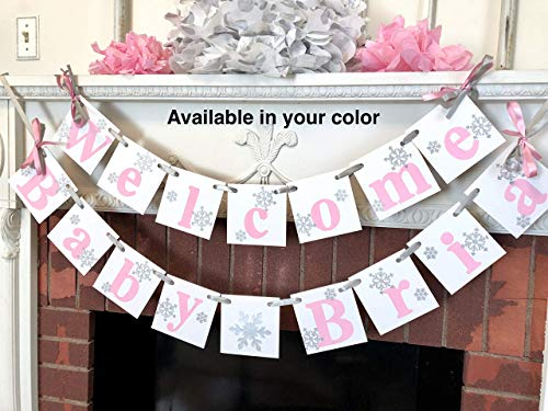 Winter Chipboard - Pink Winter Baby Shower Decor, Little Snowflake Baby Shower Banner, Blue and Silver snowflake Welcome Baby Banner, Nursery Decorations