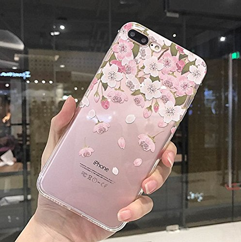 iPhone 8 Plus Soft Case,iPhone 7 Plus Clear Case With Design,LuoMing 3D Emboss Beautiful Flower Pattern Clear Transparent Slim fit Rubber Soft TPU Skin Cover Case for iPhone 8 Plus(clear-flower fall) (Flower Relief)