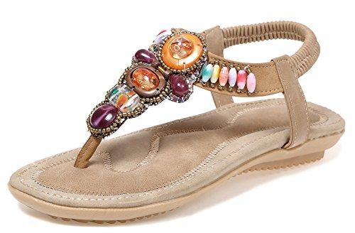 Mode Multicolores Sandales Aisun Plates Strass Chaussures Femme Beige Vacances 5qWzcPzTn