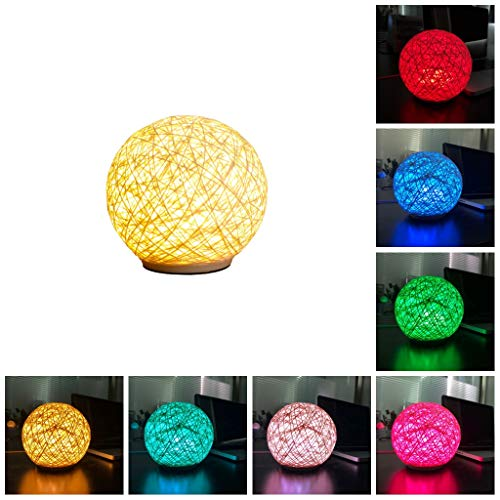 Bedroom Decoration Rattan Ball Style Bedside Table Lamp Color Changing LED Night Lamp for Living Room Birthday Gift Xmas Gift Home Decor (Rattan Ball Lamp)