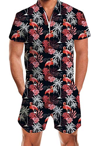 UNIFACO Men 3D Graphic Flamingos Beach Rompers Music Festival Casual Shorts Zipper Jumpsuit One Piece Romper Overall Outfits