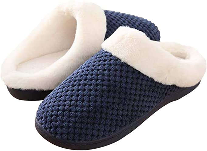 Mens Slippers Slip-on House Shoes Winter Loafer Boots Plush Fur Indoor Outdoor