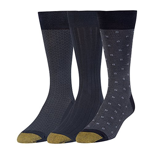 Gold Toe Men's Big and Tall Dress Crew Socks, 3 Pairs, Navy, Shoe Size: 12-16