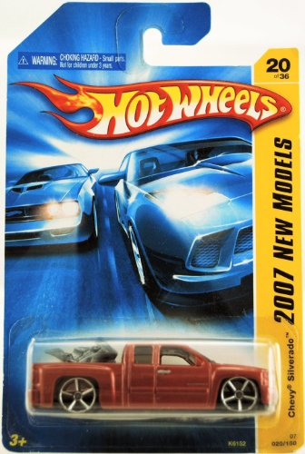 CHEVY SILVERADO EXT CAB Hot Wheels - 2007 New Models - Chevy Silverado - Ext Cab - w/ Dirt Bike in Bed - Red/Orange Paint - 20/36 - 1:64 Scale Collectible Die Cast (Bike Diecast Collectible)