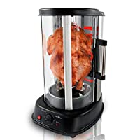 NutriChef Countertop Vertical Rotating Oven - Rotisserie Shawarma Machine, Kebob Machine, Stain Resistant & Energy Efficient W/Heat Resistant Door, Includes Kebob Rack with 7 Skewers (PKRTVG34)
