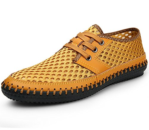 Soap Shoes For Sale (Fansela(TM) Men's Genuine Leather Handmade Summer Breathable Mesh Sweing Shoes Size 9.5 (Yellow))