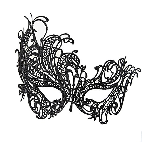 Rehot White Black Lace Masquerade Masks for Party Prom Ball Mardi Gras Halloween Christmas Women (Black 2) ()