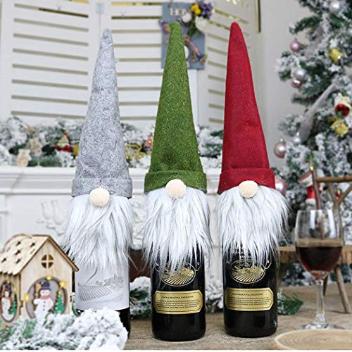 Eubell 3 Pack Christmas Gnomes Wine Bottle Cover, Gnomes 3 Pack Christmas Gnomes Wine Bottle Cover, Gnomes Wine Bottle Toppers Santa Claus Bottle Hat for Holiday Home Christmas Decorations Gift