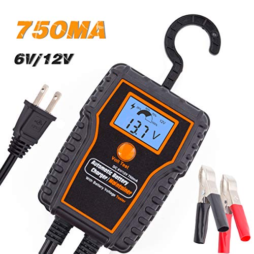 TN TONNY Smart Battery Charger/Maintainer with Battery Voltage Tester, 6/12V 750mA Automatic Battery Charger Trickle Charger