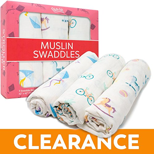 Muslin Swaddle Blankets for Baby Girls Boys and Infants, 100% Cotton, Soft and Comfortable Nursery Bed Blankets, Light and Breathable Burp Cloth, Kites Bicycles and Rocking Horses, 3 Pack 42x42 inches