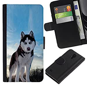 KLONGSHOP // Tirón de la caja Cartera de cuero con ranuras para tarjetas - Happy Dog Husky - Samsung Galaxy S4 IV I9500 //