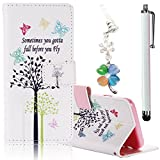 Bonice ASUS Zenfone 2 Laser 5.5 Case, Premium Leather Wallet Case + Diamond Antidust Plug + Stylus Pen Ultra Slim Book Style Cover with Card Slots Flip Stand Function Soft TPU Back Bumper Anti-scratch Shockproof Skin Protection, Butterfly and Tree