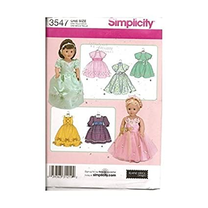 Amazon Com Simplicity 18 Doll Clothes Pattern 3547 For Dresses And