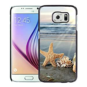 Fashionable Samsung Galaxy S6 Case ,Unique And Popular Designed Case With Sea Star Nad Corals On A Fashionable Beach Black Samsung Galaxy S6 Great Quality Screen Case