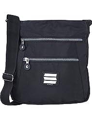 Suvelle Crinkle Nylon Go-Anywhere Crossbody & Messenger Bag, Multi Pocket Handbag, Zipper Swingpack Purse For Traveling, Shopping, Everyday Use # 20103