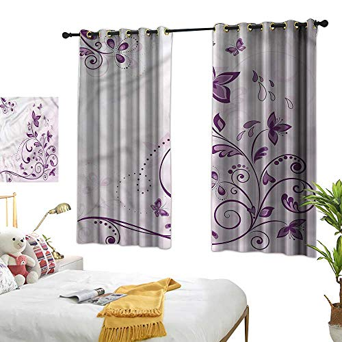 """White Curtains Mauve,Swirled Leaves Butterflies 54""""x63"""",with Grid Composition Decorative Curtains for Living Room"""