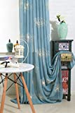Cheap ZWB Country Graceful Flower Blossoms Hand Embroidery Sheer Curtains Elegant Window Drapes Semi-Shading Sheer Voile Linen Curtains for Living Room Rod Pocket Process 1 Panel W52 x L96 Inch