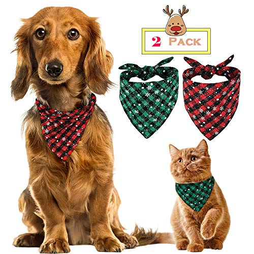 Hpets Puppy Pet Bandana, 2PCS Plaid Cotton Triangle Bibs Scarfs Accessories for Small Large Dogs Cats Pets