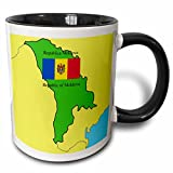 3dRose 777images Flags and Maps - Map and Flag of Moldova with the Republic of Moldova printed in both English and Romanian - 11oz Two-Tone Black Mug (mug_47329_4)