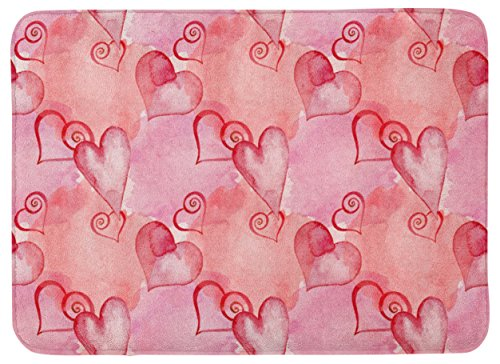 Caroline's Treasures Watercolor Red Hearts Floor Mat, 19