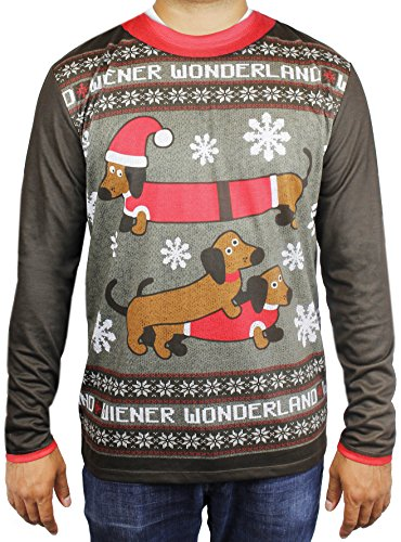 Men's Xmas Weiner Dog Printed T-Shirt, Adult Size Large