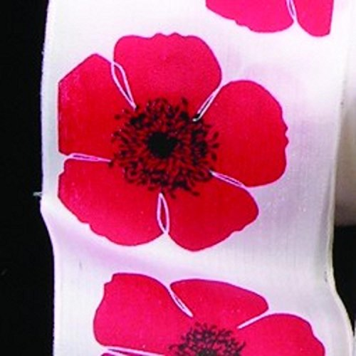 White with Red Poppies Print Taffeta Wired Craft Ribbon 2.5