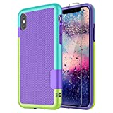 iPhone XR Case [with Screen Protector],Case for iPhone XR,Shock-Absorbing 3 Color Heavy Duty Protective Ultra Slim Hybrid Bumper Soft Rugged Rubber Phone Case Cover(Purple)