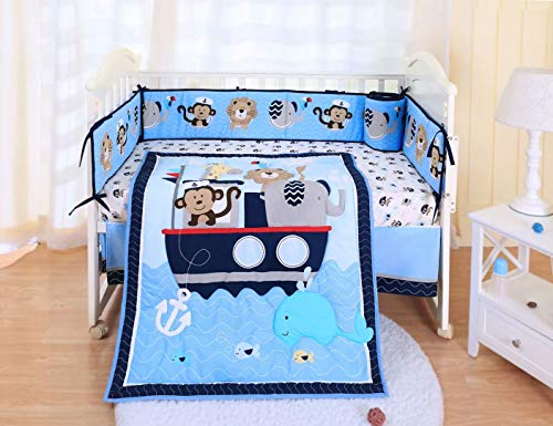 Spring Baby Crib Bedding Set 7 Piece, 100% Soft Organic Natural Cotton, Portable Standard Crib Bedding Set for boy, Woodland Elephant Lion Deer & Monkey Crib Set (Blue Nautical Animals)