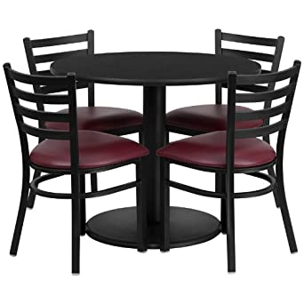Amazoncom Round Black Laminate Top Restaurant Table Set With - 4 top restaurant table