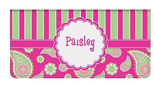 Pink & Green Paisley and Stripes Genuine Leather Checkbook Cover (Personalized)