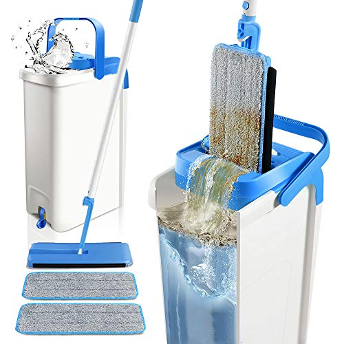 Mop and Bucket System with 2 Mop Pads Self Cleaning Flat Squeeze Mop with Bucket Wringer for Floor Cleaning Masthome